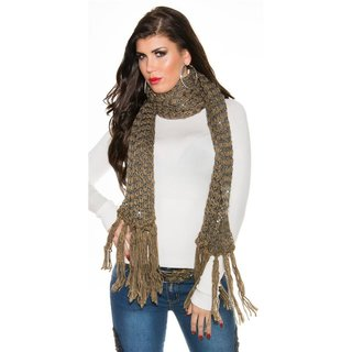 Cuddly XXL scarf with glitter and fringes cappuccino