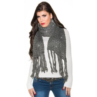 Cuddly XXL scarf with glitter and fringes grey