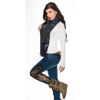 CUDDLY XXL SCARF WITH GLITTER AND FRINGES NAVY