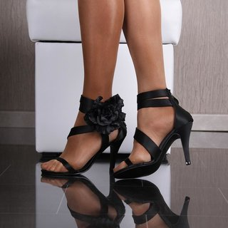 SEXY SATIN SANDALS EVENING SHOES HIGH HEELS WITH BLOOMS BLACK
