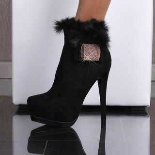 EXCLUSIVE VELVET ANKLE BOOTS HIGH HEELS FAKE FUR RHINESTONES BLACK