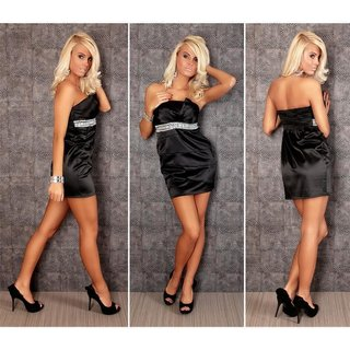 Elegant satin bandeau dress sheath dress with rhinestones black