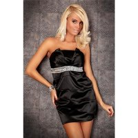 ELEGANT SATIN BANDEAU DRESS SHEATH DRESS WITH RHINESTONES...