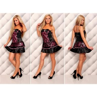 Elegant satin bandeau dress evening dress with lace black/fuchsia