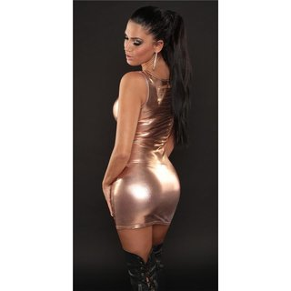 SEXY MINIDRESS WITH RIFTS GOGO CLUBWEAR WET LOOK BRONZE
