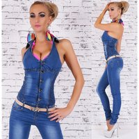 Sexy blue washed halterneck jeans overall jumpsuit with...