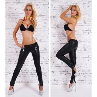 SEXY SKINNY DRAINPIPES ARTIFICIAL LEATHER WITH ZIP AT THE LEG BLACK