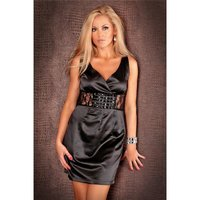 PRECIOUS SATIN EVENING DRESS WITH LACE GLASS STONES BLACK