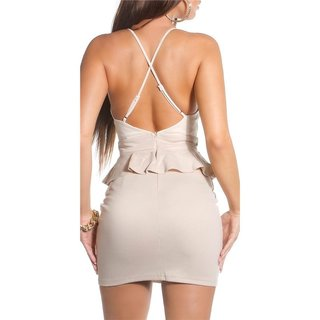 SEXY STRAP MINIDRESS PARTY DRESS WITH PEPLUM BEIGE