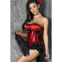 SEXY LUXURY CORSAGE WITH SATIN LACE LACING BLACK/RED