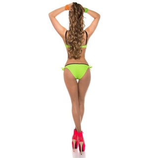 SEXY PUSH-UP BANDEAU BIKINI TO TIE WITH RHINESTONES NEON-GREEN