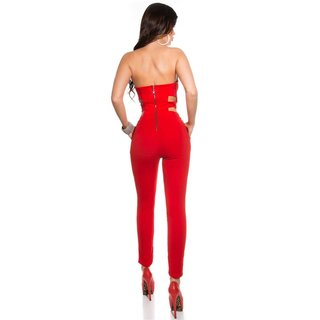ELEGANT BANDEAU OVERALL JUMPSUIT WITH RHINESTONES RED