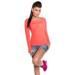 Sexy long-sleeved chiffon shirt transparent clubwear neon-coral