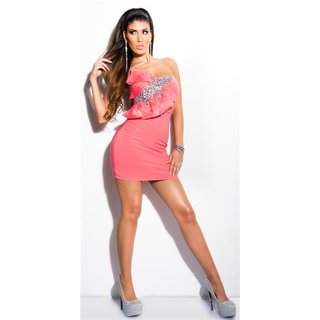 Glamour bandeau mini dress with stones and bow coral