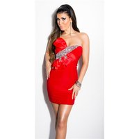 GLAMOUR BANDEAU MINIDRESS WITH STONES AND BOW RED