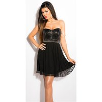 NOBLE PARTY BANDEAU CHIFFON EVENING DRESS WITH SEQUINS BLACK