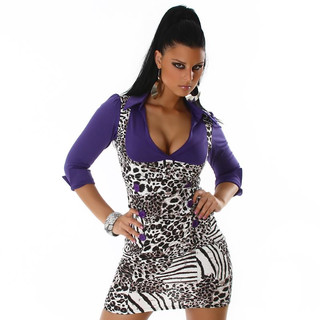 EDLES BUSINESS PENCIL-KLEID LEOPARD / LILA