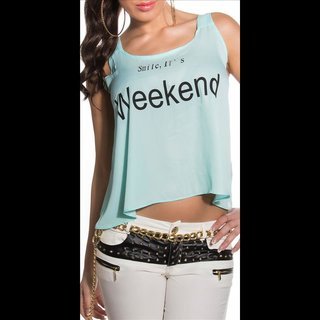 Sexy loose-fit chiffon top with print Smile, ITs Weekend mint green