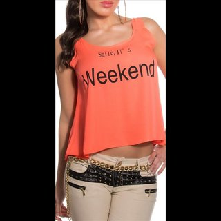 Sexy loose-fit chiffon top with print Smile, ITs Weekend coral