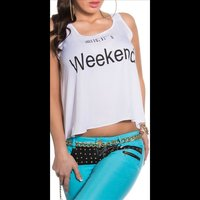 Sexy Loose-Fit Chiffon Top mit Print Smile, ITs Weekend...