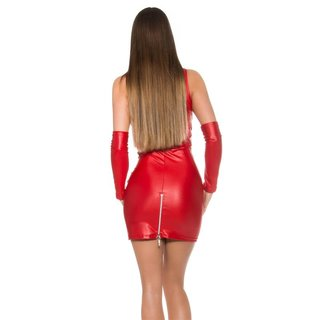 SEXY CLUB MINIDRESS WITH ZIPPER + GAUNTLETS WET LOOK GOGO RED