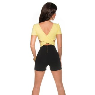 SEXY SHORT-SLEEVED OVERALL PLAYSUIT IN WRAP LOOK YELLOW