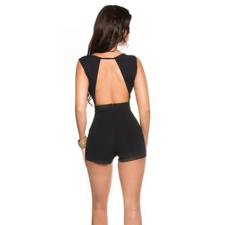 Sexy sleeveless skort overall playsuit backless black