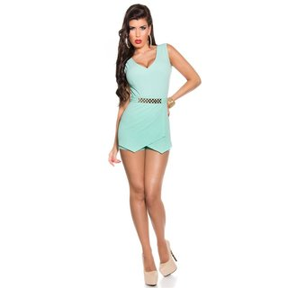 SEXY SLEEVELESS SKORT OVERALL PLAYSUIT BACKLESS MINT GREEN