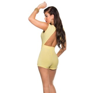 SEXY SLEEVELESS SKORT OVERALL PLAYSUIT BACKLESS YELLOW