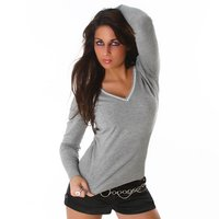 ELEGANT SWEATER WITH RHINESTONES LIGHT GREY