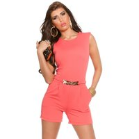 ELEGANT SLEEVELESS OVERALL PLAYSUIT WITH GOLD-COLOURED...