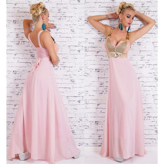BODENLANGES GLAMOUR CHIFFON MAXI-ABENDKLEID ROSA/GOLD