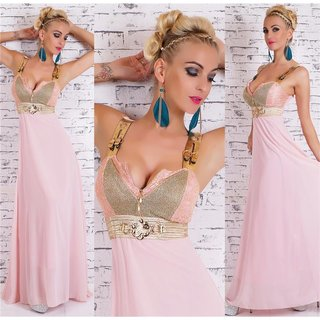 Floor-length glamour chiffon evening gown maxi dress pink/gold