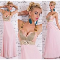 BODENLANGES GLAMOUR CHIFFON MAXI-ABENDKLEID ROSA/GOLD...