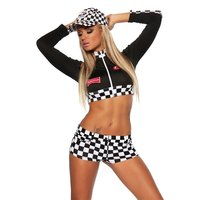 SEXY 2 PCS RACING OUTFIT GOGO COSTUME BLACK/WHITE Onesize...