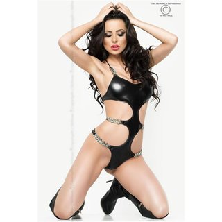 Sexy monokini body with chains wet look gogo clubwear black Onesize (UK 8/10)