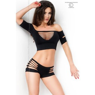 Sexy 2 pcs gogo set with cut-outs top + hot pants clubwear black