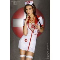 SEXY 6 PCS NURSE GOGO SET CLUBWEAR WHITE / RED UK 8/10 (S/M)