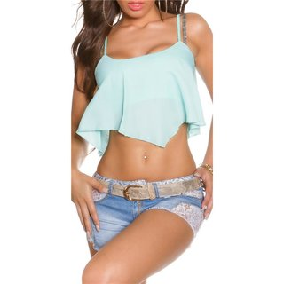 SEXY LOOSE-FIT CHIFFON CROP TOP TRANSPARENT MINT GREEN