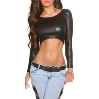 Sexy Langarm Crop Shirt in Wetlook Gogo Clubwear Schwarz...