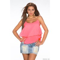 SEXY LOOSE-FIT CHIFFON TOP WITH CHAIN STRAPS NEON-PINK