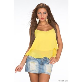 Sexy loose-fit chiffon top with chain straps yellow