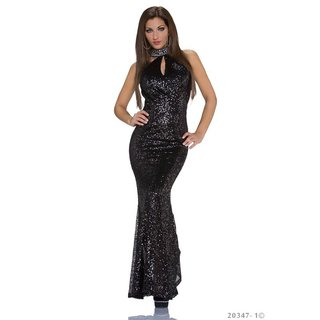 Exclusive glamour gala evening dress gown with sequins black