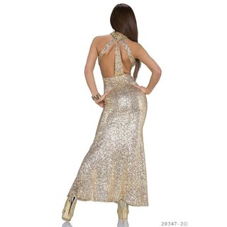 Exclusive glamour gala evening dress gown with sequins gold