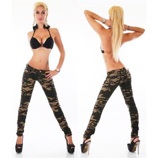 SEXY SKINNY RÖHRENJEANS IN ARMY-LOOK CAMOUFLAGE