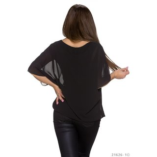Trendy short-sleeved chiffon shirt with gold-coloured chain black