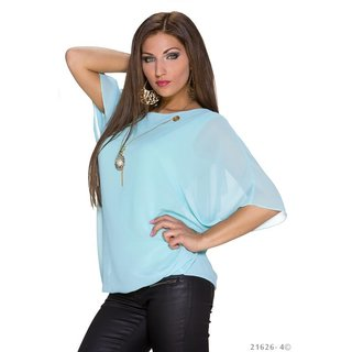 573d5aa9e4d916 ... TRENDY SHORT-SLEEVED CHIFFON SHIRT WITH GOLD-COLOURED CHAIN MINT GREEN  ...