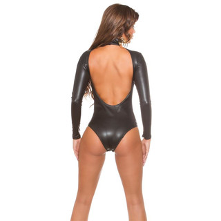 SEXY LATEX-LOOK BODY RÜCKENFREI WETLOOK GOGO CLUBWEAR SCHWARZ