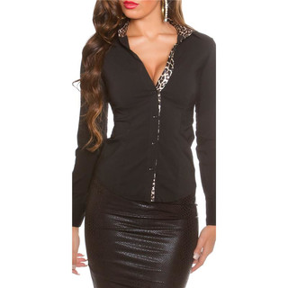 SLIM-FIT LONG-SLEEVED BUSINESS BLOUSE WAISTED BLACK/LEOPARD