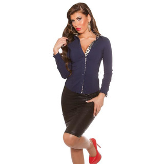 SLIM-FIT LONG-SLEEVED BUSINESS BLOUSE WAISTED NAVY/LEOPARD